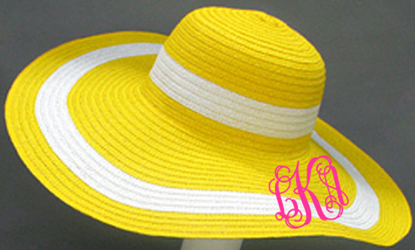 Monogrammed Summer Cabana Floppy Beach Hat  www.tinytulip.com Yellow with Hot Pink Interlocking Font