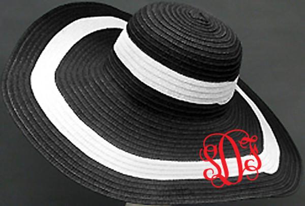 Monogrammed Summer Cabana Floppy Beach Hat  www.tinytulip.com Black with Red Interlocking Font