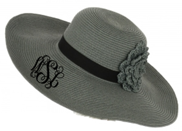 Monogrammed Straw Floppy Flower Band Hat   www.tinytulip.com Olive with Black Interlocking Monogram