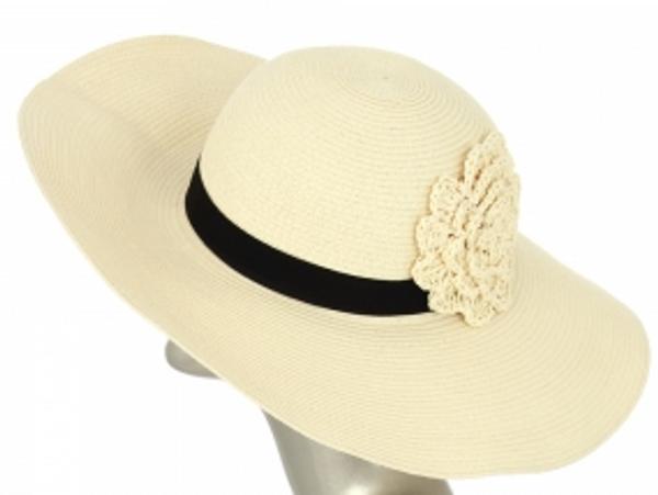 Monogrammed Straw Floppy Flower Band Hat   www.tinytulip.com Cream