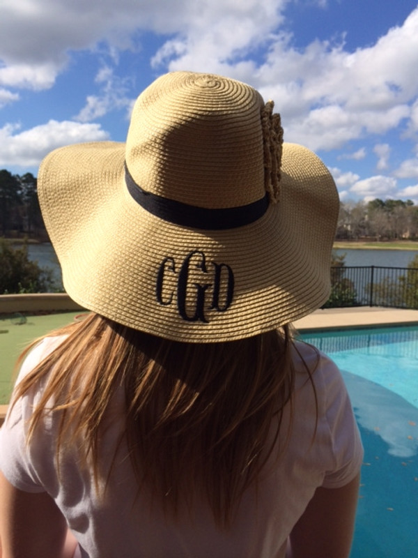 Monogrammed Straw Floppy Flower Band Hat   www.tinytulip.com Natural with Black Fishtail Monogram