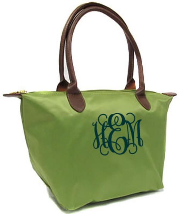 Longchamp Style Purse  www.tinytulip.com Green with Navy Interlocking Monogram