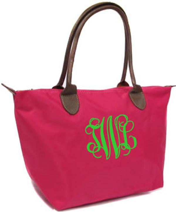 Longchamp Style Purse  www.tinytulip.com Hot Pink with Lime Green Interlocking Monogram