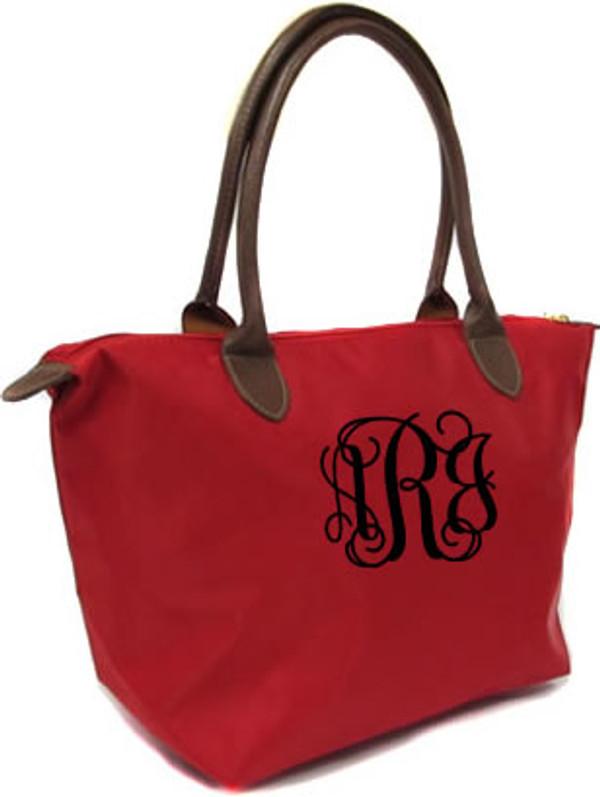 Longchamp Style Purse  www.tinytulip.com Red with Black Interlocking Monogram