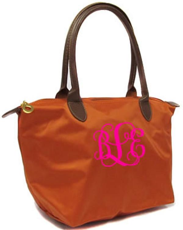 Longchamp Style Purse  www.tinytulip.com Orange with Hot PInk Interlocking Monogram