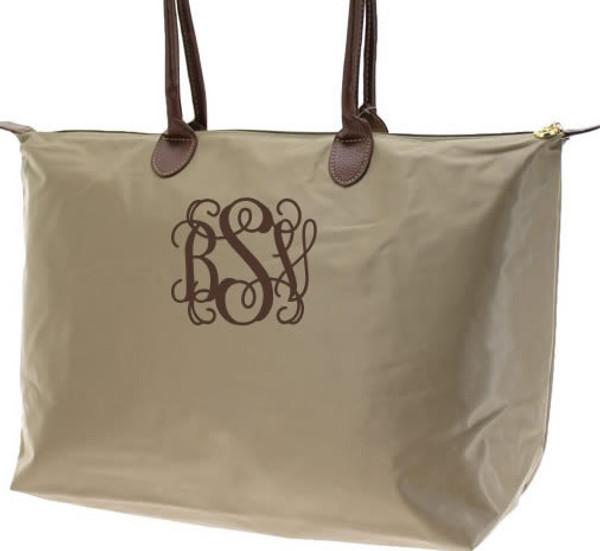 Longchamp Style Purse  www.tinytulip.com Taupe with Brown Interlocking Monogram