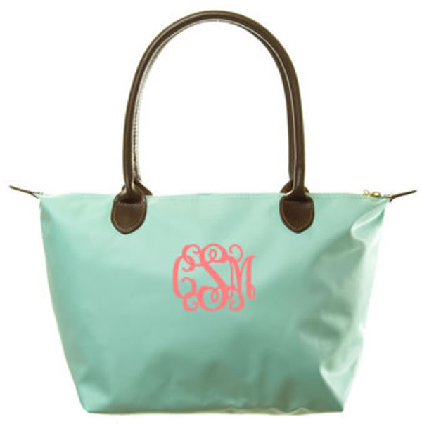 Longchamp Style Purse  www.tinytulip.com Mint with Coral