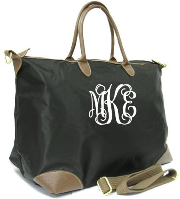 Monogrammed Large Longchamp Style Tote Bag www.tinytulip.com Black Tote with White Interlocking Font