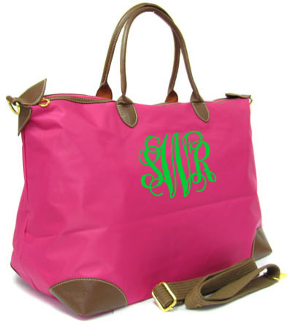 Monogrammed Large Longchamp Style Tote Bag www.tinytulip.com Hot Pink Tote with Lime Green Interlocking Font