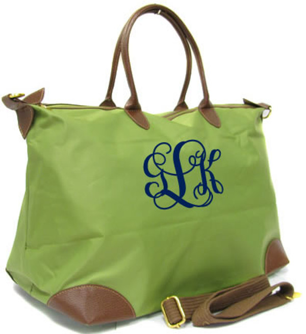 Monogrammed Large Longchamp Style Tote Bag www.tinytulip.com Green Tote with Navy Interlocking Font