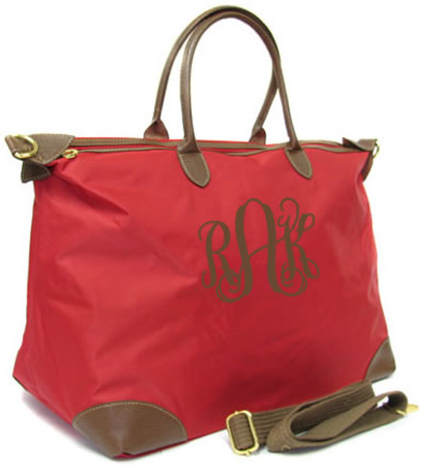 Monogrammed Large Longchamp Style Tote Bag www.tinytulip.com Red Tote with Brown Interlocking Font