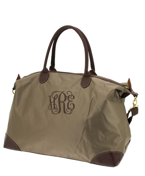 Monogrammed Large Longchamp Style Tote Bag www.tinytulip.com Taupe Tote with Brown Interlocking Font