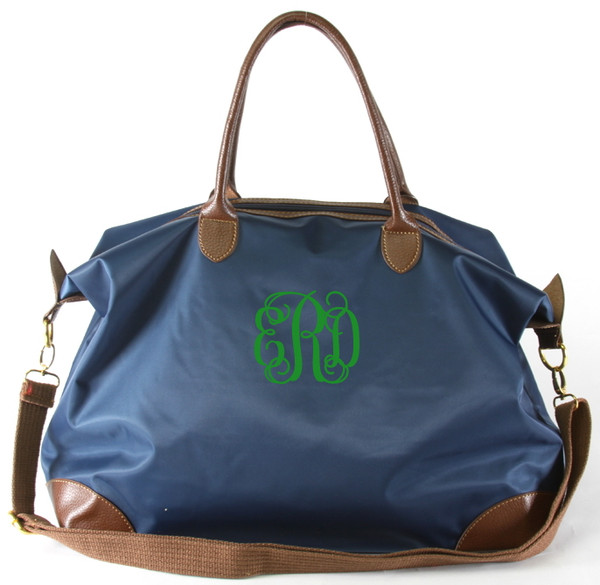 Monogrammed Large Longchamp Style Tote Bag www.tinytulip.com Navy Tote with Kelly Green Interlocking Font