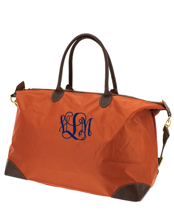 Monogrammed Large Longchamp Style Tote Bag www.tinytulip.com Orange Tote with Navy Interlocking Font