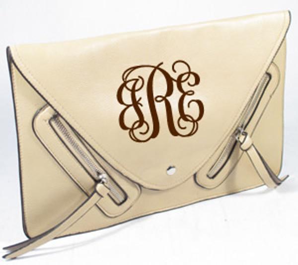 Monogrammed Envelope Zipper Clutch  www.tinytulip.com Beige with Brown Interlocking Monogram