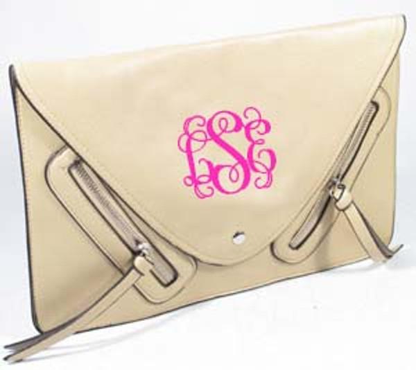 Monogrammed Envelope Zipper Clutch