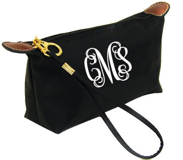 Monogrammed Longchamp Style Wristlet Clutch  www.tinytulip.com Black with White Interlocking Font