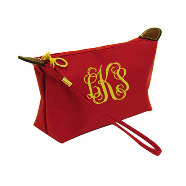 Monogrammed Longchamp Style Wristlet Clutch  www.tinytulip.com Red with Gold Interlocking Font