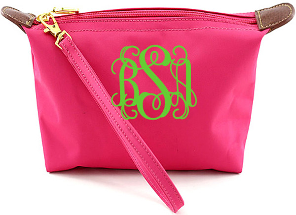 Monogrammed Longchamp Style Wristlet Clutch  www.tinytulip.com Hot Pink with Lime Green Interlocking Font
