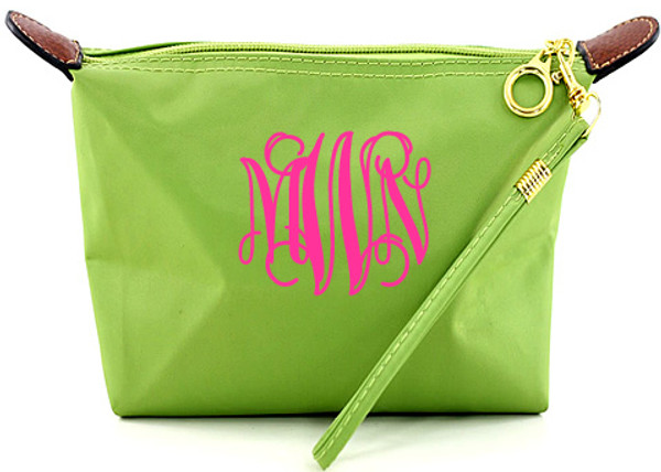 Monogrammed Longchamp Style Wristlet Clutch  www.tinytulip.com Lime Green with Hot Pink Interlocking Font