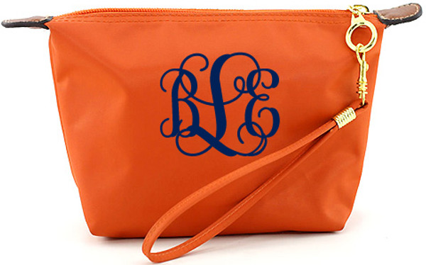 Monogrammed Longchamp Style Wristlet Clutch  www.tinytulip.com Orange with Navy Interlocking Font