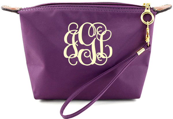 Monogrammed Longchamp Style Wristlet Clutch  www.tinytulip.com Purple with Cream Interlocking Font