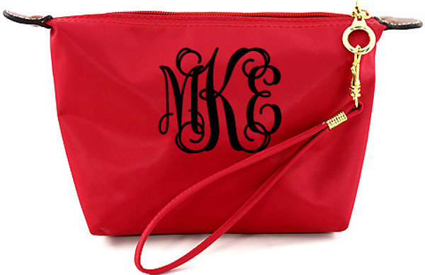 Monogrammed Longchamp Style Wristlet Clutch  www.tinytulip.com Red with Black Interlocking Font