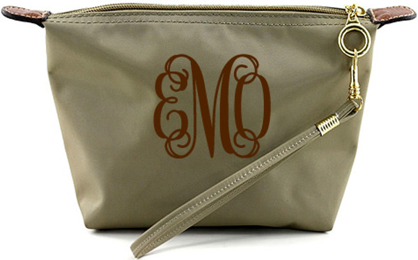 Monogrammed Longchamp Style Wristlet Clutch  www.tinytulip.com Taupe with Brown Interlocking Font