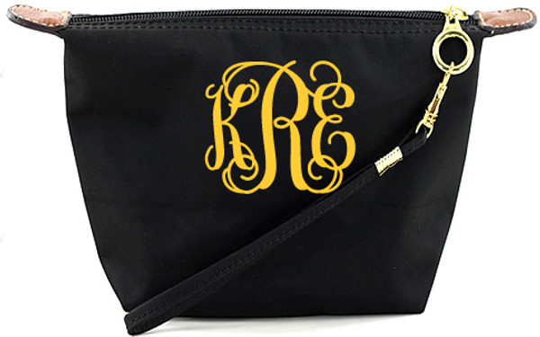 Monogrammed Longchamp Style Wristlet Clutch  www.tinytulip.com Black with Fold Interlocking Font