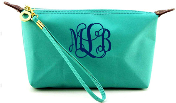 Monogrammed Longchamp Style Wristlet Clutch  www.tinytulip.com Turquoise with Navy Interlocking Font