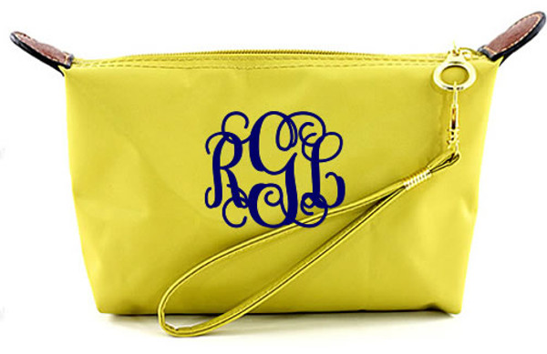 Monogrammed Longchamp Style Wristlet Clutch  www.tinytulip.com Yellow with Navy Interlocking Font
