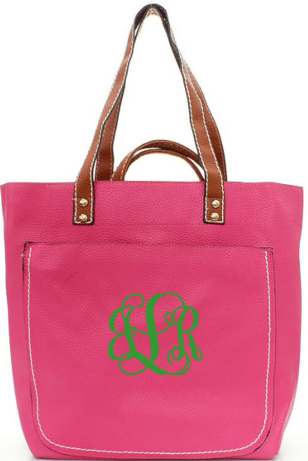 Monogrammed Shelby Shoulder Tote Purse  www.tinytulip.com Hot Pink with Kelly Green Interlocking Font