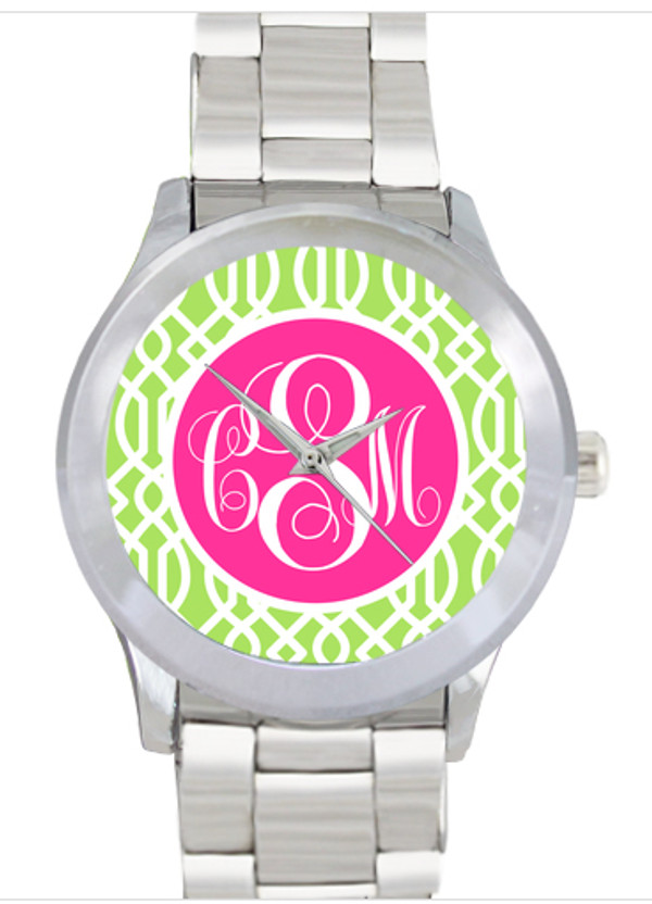 Monogrammed Stainless Steel Boyfriend Watch  www.tinytulip.com Lime Green Trellis with Solid Circle Hot Pink Emma Script Font No Bezel