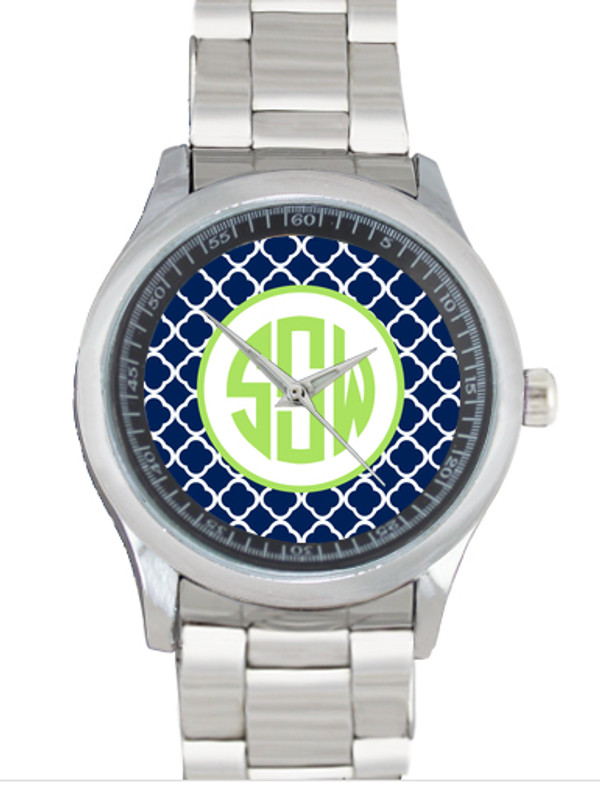 Monogrammed Stainless Steel Boyfriend Watch  www.tinytulip.com Navy Tiles with Hollow Circle Lime Green Circle Font Bezel