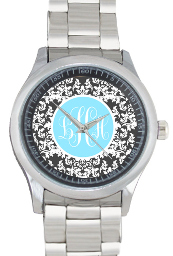Monogrammed Stainless Steel Boyfriend Watch  www.tinytulip.com Charcoal Gray Damask with Solid Circle Light Blue Emma Script Font Bezel
