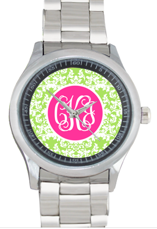 Monogrammed Stainless Steel Boyfriend Watch  www.tinytulip.com Lime Green Damask with Solid Circle Hot Pink Interlocking Font Bezel