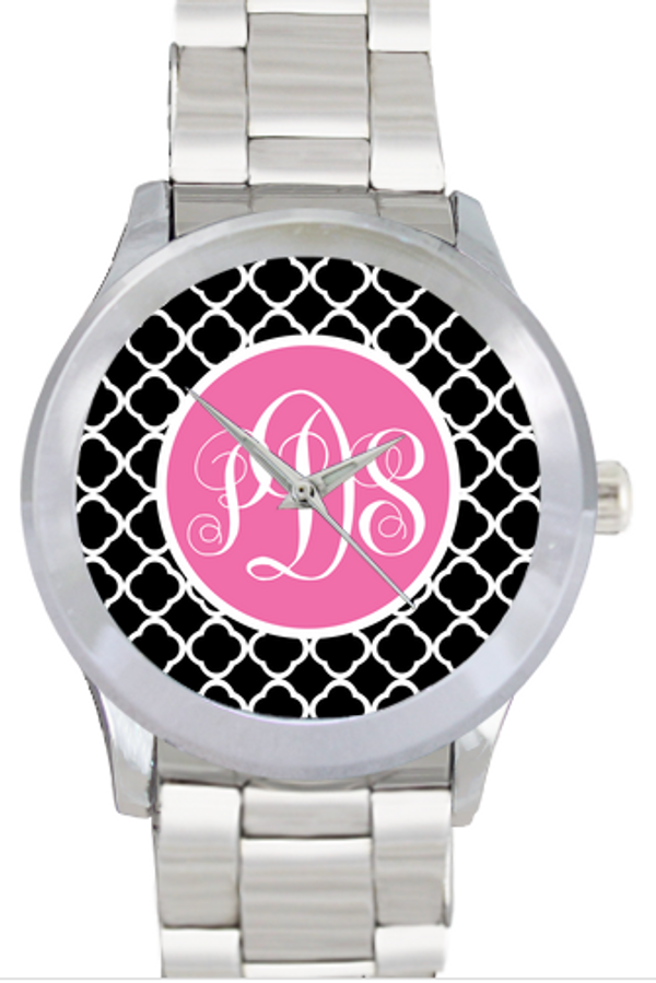 Monogrammed Stainless Steel Boyfriend Watch  www.tinytulip.com Black Tiles with Solid Circle Lilly Pink Emma Script Font No Bezel