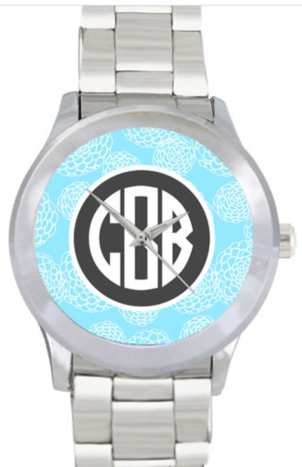 Monogrammed Stainless Steel Boyfriend Watch  www.tinytulip.com Baby Blue Zinnia with Solid Circle Charcoal Gray Circle Font No Bezel
