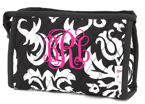 Quilted Damask Monogrammed Small Cosmetic Bag  www.tinytulip.com Black Damask Trim with Hot Pink Interlocking Monogram