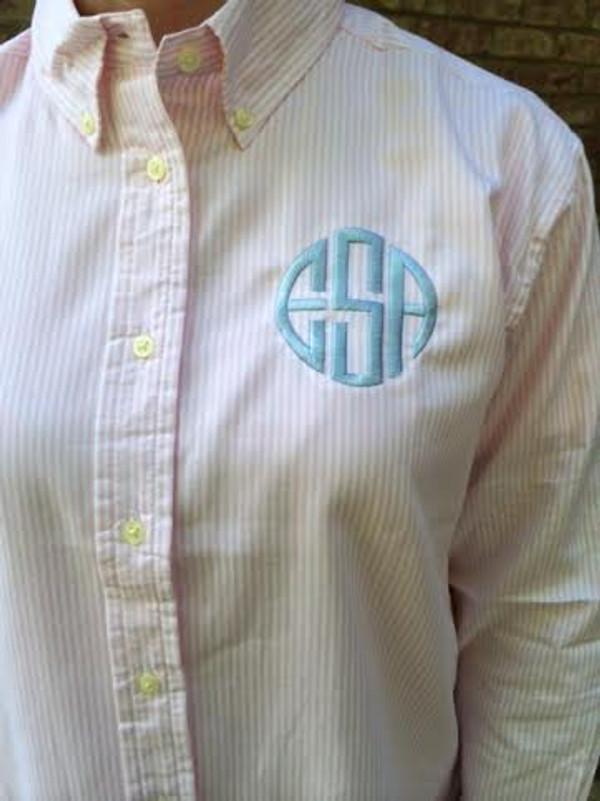 Monogrammed Oxford Blue Stripe Shirt  www.tinytulip.com