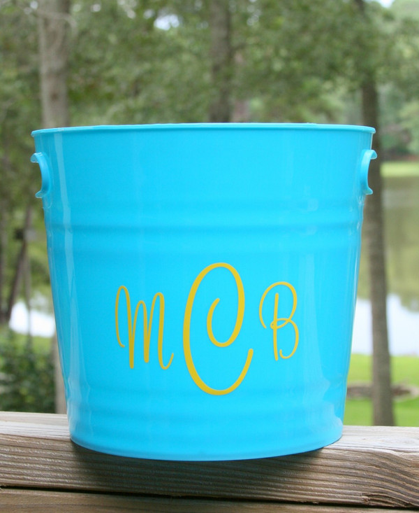 Monogrammed Plastic Bucket with Handles   www.tinytulip.com Turquoise with Yellow Cursive Font