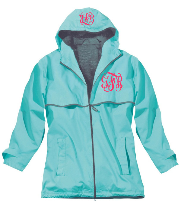 Double Monogrammed Raincoat Windjacket   www.tinytulip.com Aqua with Hot Pink Interlocking Monogram