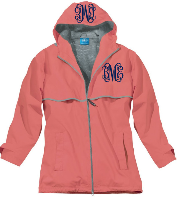 Double Monogrammed Raincoat Windjacket   www.tinytulip.com Coral with Navy Interlocking Monogram