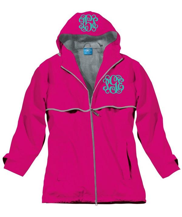 Double Monogrammed Raincoat Windjacket   www.tinytulip.com Hot Pink with Mint Interlocking Monogram