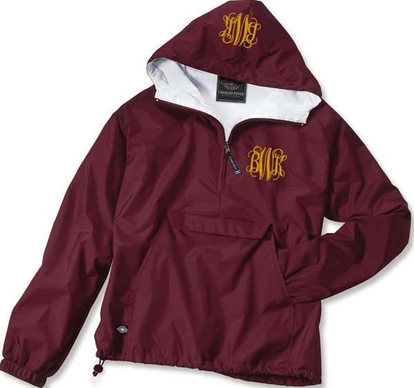 Double Monogrammed Pullover Wind Jacket  www.tinytulip.com Gold Interlocking Font