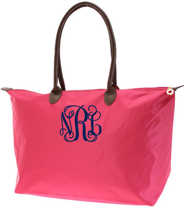 Monogrammed Medium Longchamp Style Tote Bag  www.tinytulip.com Navy Interlocking Font