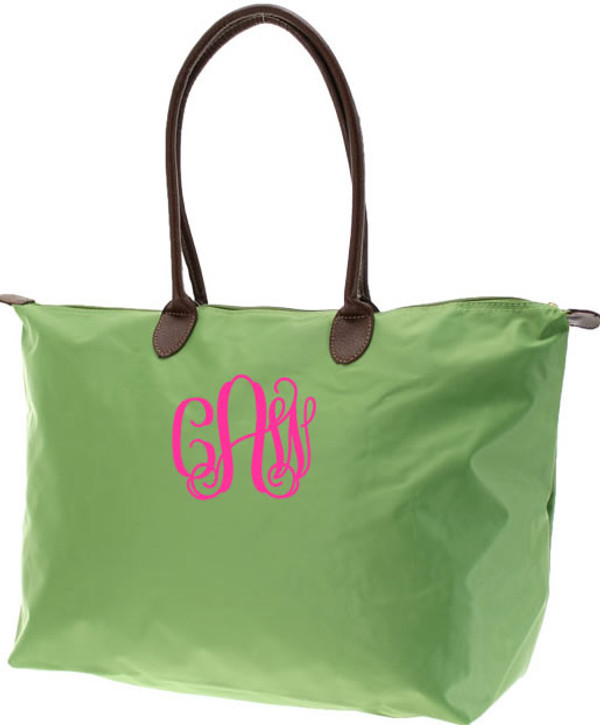 Monogrammed Medium Longchamp Style Tote Bag  www.tinytulip.com Hot Pink Interlocking Font