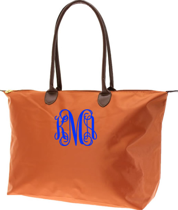 Monogrammed Medium Longchamp Style Tote Bag  www.tinytulip.com Royal Blue Interlocking Font