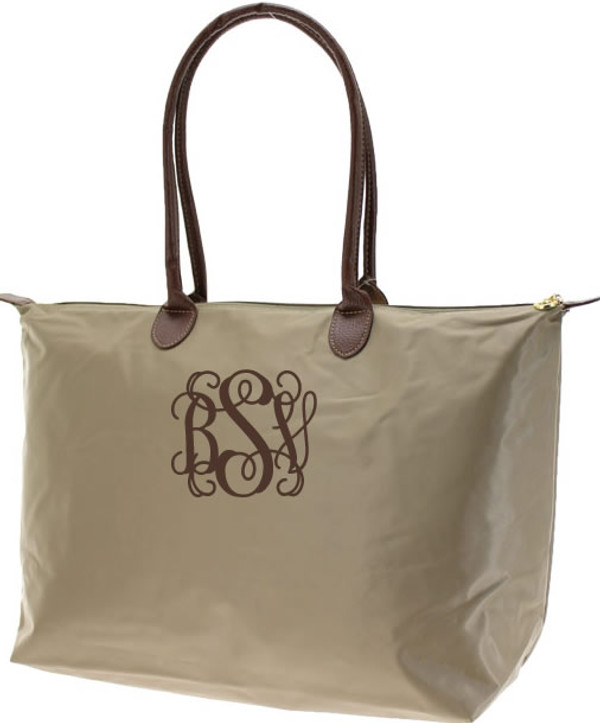 Monogrammed Medium Longchamp Style Tote Bag  www.tinytulip.com Brown Interlocking Font