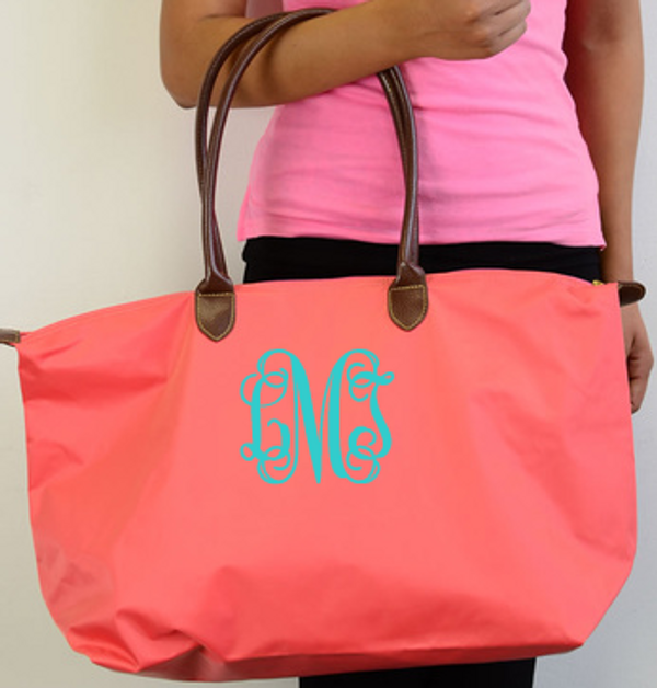Monogrammed Medium Longchamp Style Tote Bag  www.tinytulip.com Coral Bag with Turquoise Interlocking Monogram